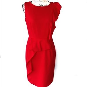 📁Just In Calvin Klein Chic Red Dress W/Ruffle 4